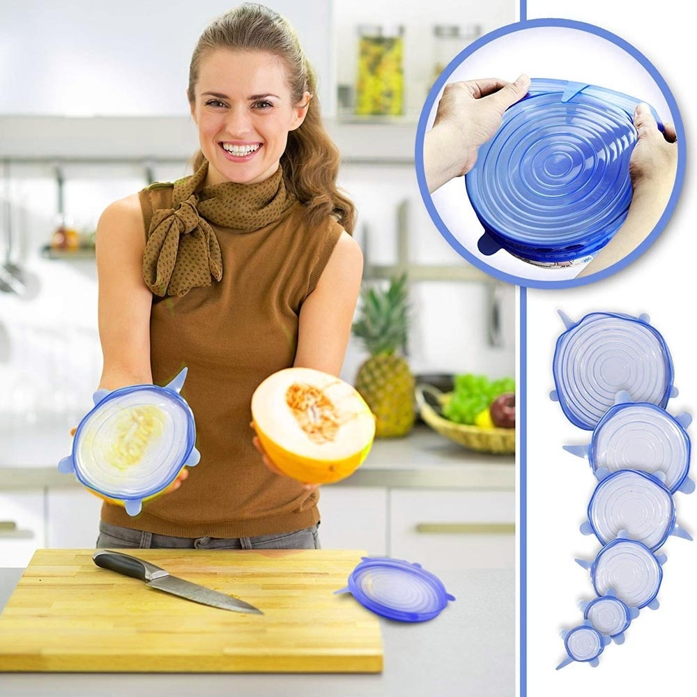 KARET PENUTUP MAKANAN isi 6 pcs in 1 FOOD COVER STRETCH BOWL SILICONE COVER LID - RANDOM