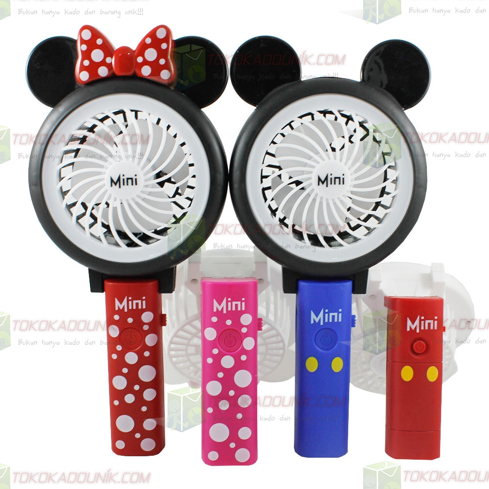 kipas kartun lipat mickey mini + lampu emergency LED keliling