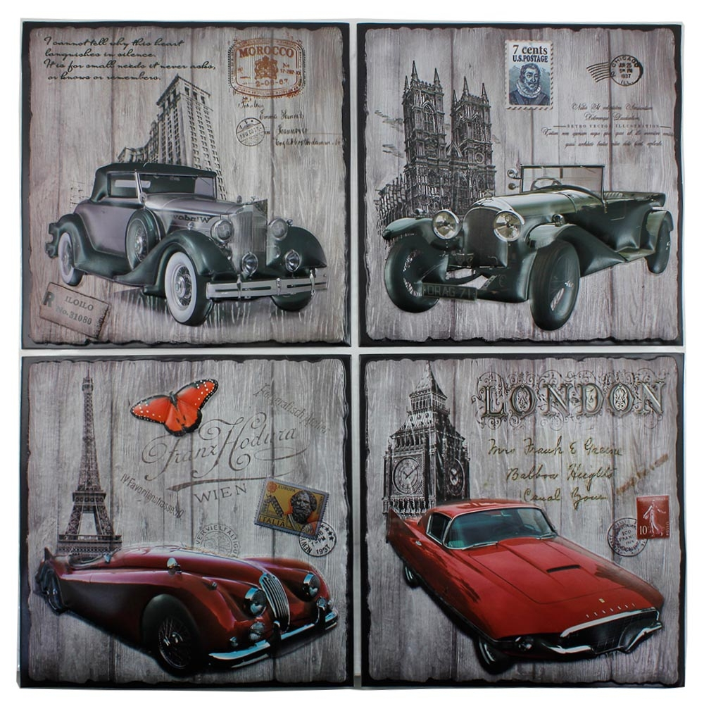 wallpaper stiker 3D STICKER WALL DECORATION motif mobil negara MEE013 - 34 x 34 cm